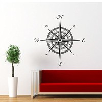 Wall Decal Vinyl Sticker Decals Art Home Decor Murals Decal Nautical Compass Rose Navigate Ship Ocean Sea Living Room Nursery Bathroom Bedroom Dorm Decals AN148