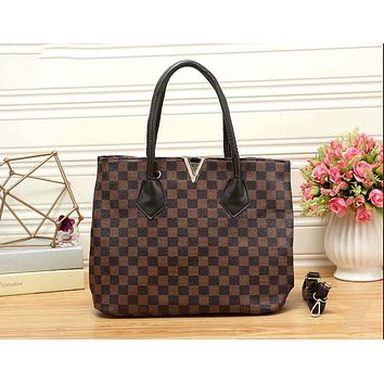Louis Vuitton LV Popular Women Leather Tote Shoulder Bag Tartan Handbag Crossbody Satchel I-KR-PJ