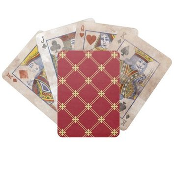 Tudor Red and Gold Pattern Playing Cards