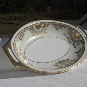 Gold and Ivory Serving Bowl by F B & Co Meito China Goldwyn, 8 inch Goldwyn Vegetable Bowl, Rose Pattern China, Elegant Serving Dish