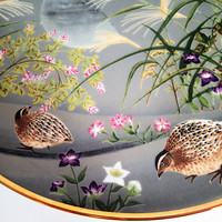 Franklin Mint Flowers and Birds of the Orient The Quail and Seven Grasses 1979 Hand Painted Decorator Plate,