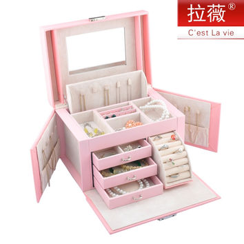 Leather Jewelry Box Lockable Makeup Storage Case with Mirror-Travel Case and Lock