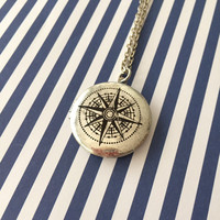 Vintage Style Compass Locket Pendant Necklace