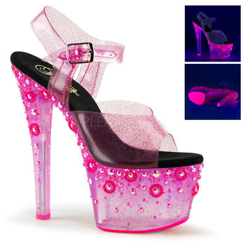 Blacklight Reactive Ankle Strap Stripper Shoes