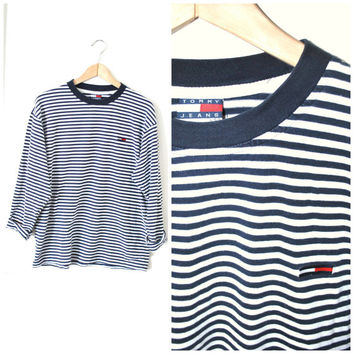striped TOMMY HILFIGER 90s grunge revival UNISEX long sleeve Tshirt medium large os.