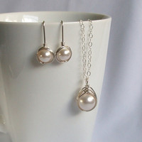 Sterling Silver Jewellery Set, Swarovski White Pearl Bridal Jewlery Set, Pearl Earring and Pendant Set, Wire Wrapped Jewelry Handmade