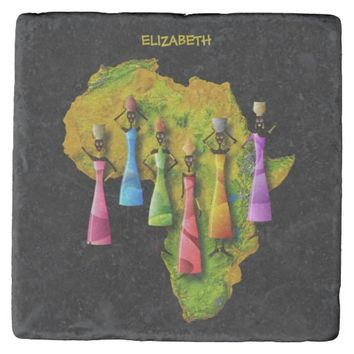 African Women In Colorful Dresses On Africa Map Stone Coaster