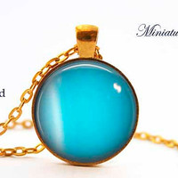 Uranus Necklace Pendant Jewelry Space, Nebula, Galaxy, Celestial, Solar System,Blue,Teal,Planet Gift for her for him under 15 20