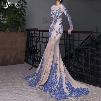 Modest Blue Appliques Chiffon Long Sleeves Mermaid Back Open Evening Dress Women Custom Made Sheath Formal Maxi Gowns Vestidos