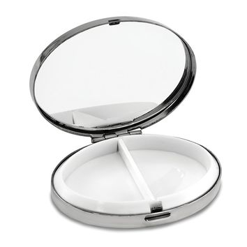 Silver-tone Oval 2-section Pillbox W/mirror