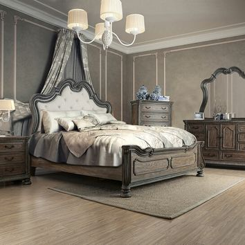 5 pc Ariadne collection rustic natural tone finish wood queen padded and tufted bedroom set