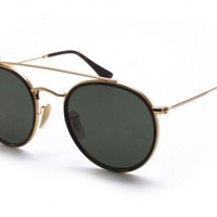 Ray Ban Round Doble Bridge RB3647N 001 51 Gold Frame / Green Classic G-15 Lens