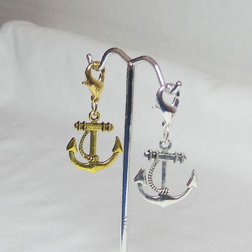 Stocking Stuffers Gold Anchor Charm, Silver Anchor Charm, Lobster Clasp, Phone Charm Zipper Pull Cell Lanyard