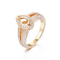 Diamond Engagement Semi Mount Ring Sets 14K Yellow Gold Setting Marquise 5x10mm