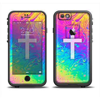 The Vector White Cross v2 over Neon Color Fushion V2 Apple iPhone 6 LifeProof Fre Case Skin Set