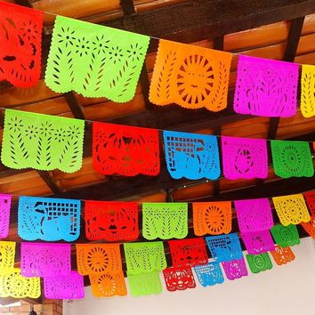 Cinco de Mayo Decorations, Papel Picado Banners Over 50ft long WS100