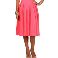 Sale-neon Pink Pleat Midi
