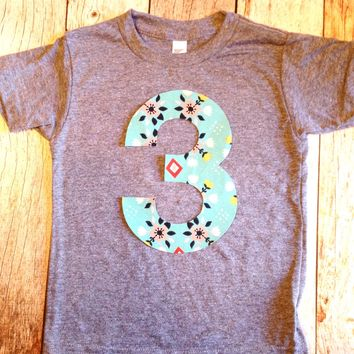 Wild flower girls birthday shirt Any NUMBER on Birthday tShirt Birthday Shirt kids 1 2 3 4 5 6 7 8 9 triblend grey camp arrow feather teepee
