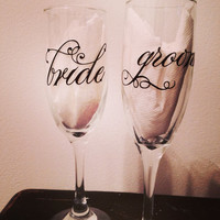 Bride and Groom toasting glass set