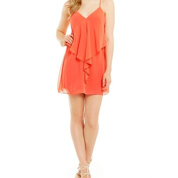 Guess Sadie Asymmetrical-Ruffled-Front Sheath Dress | Dillards