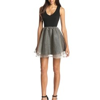 Ark & Co Women's Sleeveless Fit-and-Flare Dress with Metallic Stripe Skirt