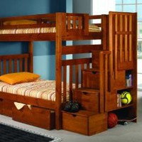 Amazon.com: Bunk Bed Twin over Twin Mission Style in Honey with Stairway and Drawers: Furniture & Decor