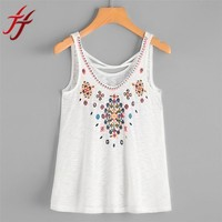Hot Summer Tank Tops Sexy Floral Embroidery Women Sleeveless Crop Top Vest