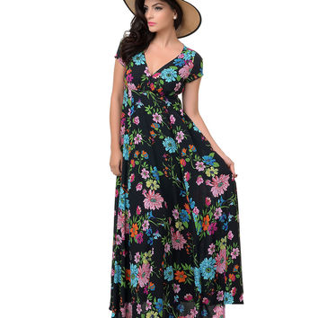 1970s Style Black Floral Short Sleeved Cut Out Maxi Dress