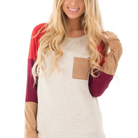 Oatmeal Color Block Top with Faux Suede Pocket