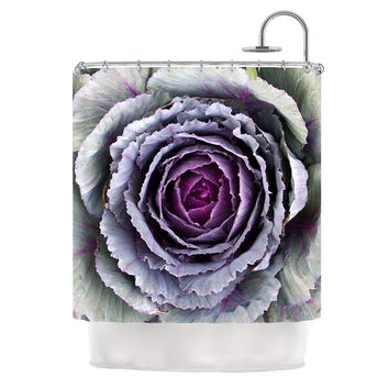 "Susan Sanders ""Flower Love"" Purple Green Shower Curtain"