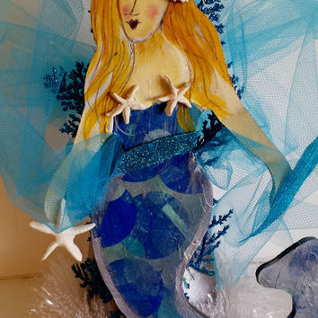 Handpainted Mermaid Christmas Tree Topper