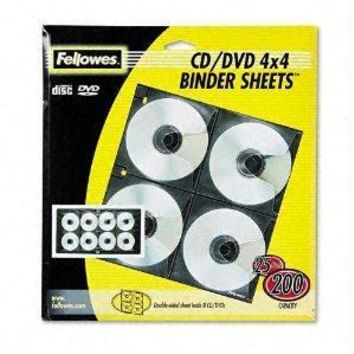 Fellowes, Inc. Fellowes Cd-dvd Binder Sheets Hold 8 Cds-dvds Each. Loose-leaf Vinyl Sheets Are