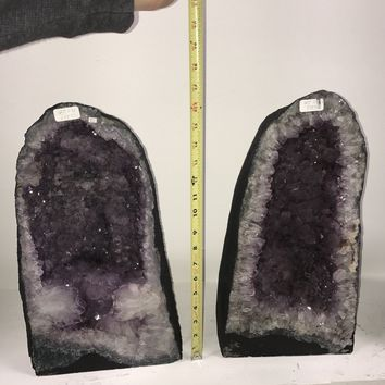 "Pair Amethyst Crystal Cathedrals 17"" Tall- Brazil 
