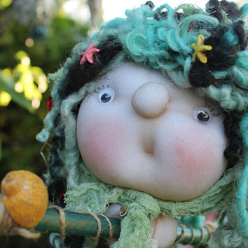 Aurelia the SeaWitch. Kitchenwitch, folklore. Good luck doll for your kitchen & home!