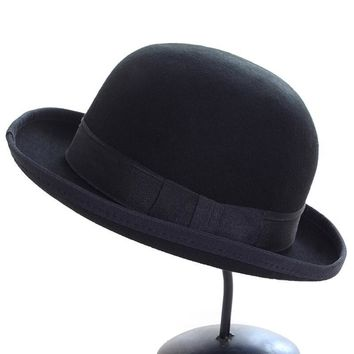 Vintage autumn Fashion Women's Casquette Trendy Bowler hat Kentucky derby Real wool hats Chapeu feminino Bone Cap Fedora Hat