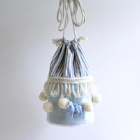 The circus has come to town bucket bag, circus style, pompom bag, blue and white circus tent