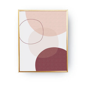 Pink Burgundy Print, Abstract Shapes, Pastel Wall Art, Textured Shapes, Minimalist Poster, Geometric Textures, Watercolor Print, Simple Art