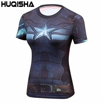 2016 Star Wars Cool Avengers Superhero Superman Captain America Casual T Shirt Women Compression Bodybuilding Shirt