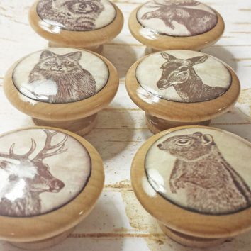 "Handmade 1.5"" Wildlife Animal Knobs, Set of 6 Knob Drawer Pulls, Woodland Cabinet Pull Handles, Wild Animal Dresser Knobs, Made To Order"