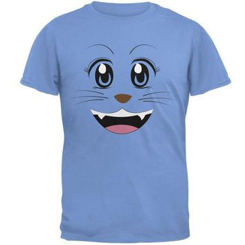 LMFCY8 Anime Cat Face Neko Carolina Blue Adult T-Shirt