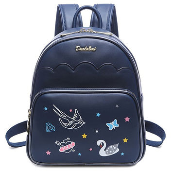 Backpack With Print and Letter Design