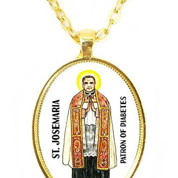 St Josemaria Patron Saint of Diabetes Huge 30x40mm Bright Gold Pendant with Chain Necklace