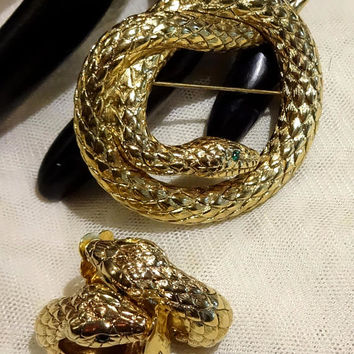 Nice Vintage  Erwin Pearl Coiled Snake Brooch and Earrings