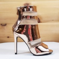 """Cape Lola Rose Gold Mesh Single Sole Shoes Booties - 4"""" High Heels"""