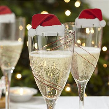 10 pcs Table Place Cards Christmas Santa Hat Wine Glass Decoration  171122