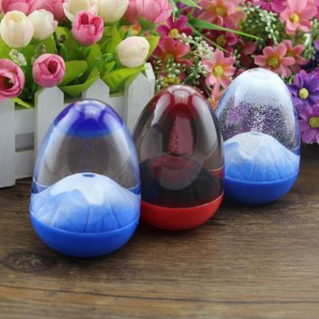 D 1pc novelty eggs shape volcanic eruption desk toy cabochon resin craft craftwork snow globe home decoration accessories gadget