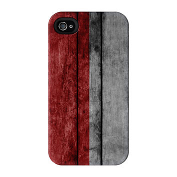 Grunge Wood Flag of Indonesia - Indonesian Flag Full Wrap Premium Tough case for iPhone 4/4s by World Flags