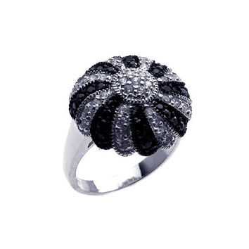 .925 Sterling Silver Rhodium Black Rhodium Plated Pave Set Black   Clear Cubic Zirconia Dome Ring: Size:5