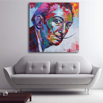 Salvador Dali Graffiti Pop Art Oil Painting Face Portrait Print Wall Painting and Posters For Living room Home Decoration