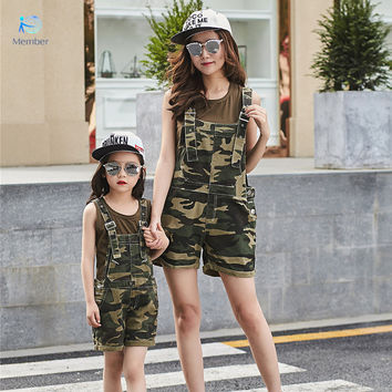 matching mother daughter clothes Parent-child outfit In the summer of camouflage sleeveless Mother and daughter outfit suits 20#